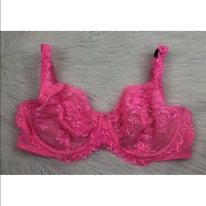 NEW Victoria's Secret Hot Pink Lace Unlined Demi